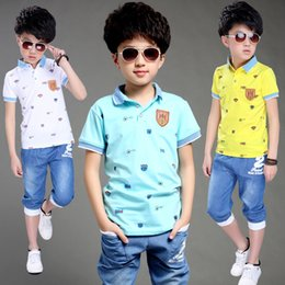 teen boy t shirts NZ - New Teens Boys Summer Short Sleeve T Shirt +Denim Shorts 2pcs Sports Tracksuit Suits Clothing Sets For Boys School Sets New