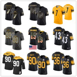 Chinese  Pittsburgh Custom Steeler Jerseys Troy Polamalu Jerome Bettis Ben Roethlisberger JuJu Smith-Schuster Ryan Shazier T.J. Watt Men Women Youth manufacturers