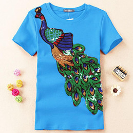 $enCountryForm.capitalKeyWord NZ - Noble Elegant T Shirt Women Peacock Sequined Sequins T -Shirt Womens Fashion New Top Tee Shirt Femmer Lady Sakura Clothes
