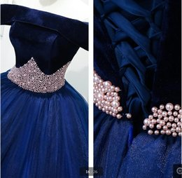 $enCountryForm.capitalKeyWord Australia - Vestido De Festa 2019 royal blue ball gown prom dress off the shoulder pearls real picture princess prom gowns best selling prom dresses