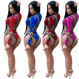 Padding for bikini online shopping - Women Sexy Tankini Swimwear Long Sleeve Rashguard Piece Bathing Suit For Lady Tights Cross Strap Flowers Bikini Swim Diving Suit C3206