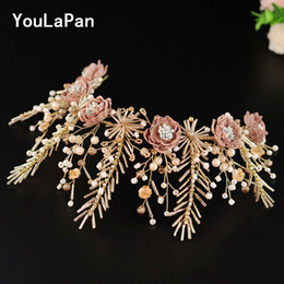 bohemian hair accessories for women Canada - YouLaPan HP218 Wedding Hair jewelry for women flowers crown for bride Tiara With flowers and pearl on Wedding tiara Accessories