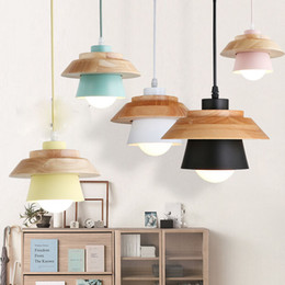 E27 Light Holder Australia - Colorful Pendant Lights Dining Room Pendant Lamps Modern Colorful Restaurant Coffee Bedroom Lighting Iron+Solid Wood E27 Holder Le-78