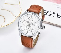 $enCountryForm.capitalKeyWord Australia - brand men's quartz movement stainless steel leather watch five-needle business dress casual sports watch gift