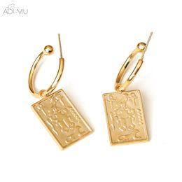 metal s925 2019 - AOMU S925 Sterling Silver Pin Golden Metal Tarot Geometric Rectangle Dangle Drop Earrings for Women Girl Party Gift Jewe