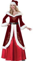 Womens Christmas Costumes Long Dress Long sleeve Christmas Performance Costumes Dresses Cosplay Dress Up Festival Clothing Christmas Set on Sale