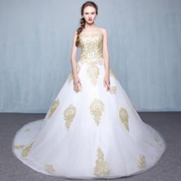 $enCountryForm.capitalKeyWord NZ - New arrival elegant wedding dress Vestido de Festa dress royal train appliques long tulle style wedding party gold lace