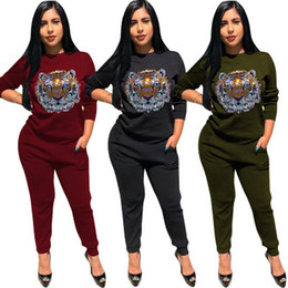 Army Two Piece Suit Australia - Designer Tracksuits Women's Suit Fashion Spring Casual Two-piece Hot Drilling Tiger Head Sportswear Suit