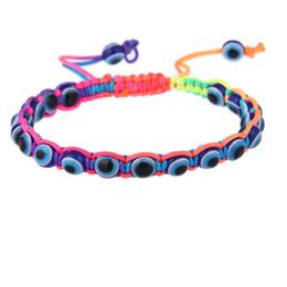 Wholesale Handmade Turkey Blue Evil eye Charm Bracelets For Women Braided String Rope Fatima Beads Chain Bangle Fashion Jewelry Gift