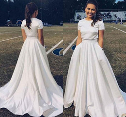 Wedding Dresses Two Piece Design Australia - Two Piece Satin A-line Wedding Dresses 2019 Jewel Neck Short Sleeve Simple Design Country Garden Bridal Gowns Wedding