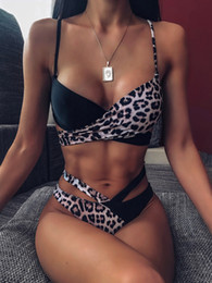 leopard print high waist bikini Australia - Womens Sexy Bikini Swimwear Splice Leopard Swimsuit High Waist Bikini 2020 Women Swimwear Two-pieces Bikini set Sexy Bather Bathing