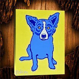 $enCountryForm.capitalKeyWord Australia - Blue Dog Blue Dog on Yellow Background,1 Pieces Canvas Prints Wall Art Oil Painting Home Decor (Unframed Framed) 24X32.
