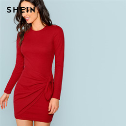 73014de5841b6 Shein Rust Sexy Elegant Office Lady Knotted Wrap Front Fitted Pencil  Natural Waist Dress 2018 Autumn Streetwear Women Dresses Y190123