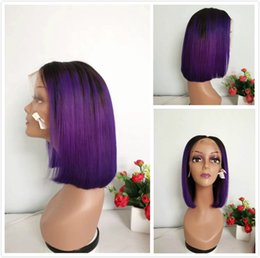 Purple Lace Front Human Hair Australia - PrePlucked Indian Straight Human Hair Lace Front Wig Short Pixie Cut 1B Purple Ombre Bob Wigs For Black Women Colored Glueless Full Lace Wig