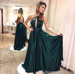 $enCountryForm.capitalKeyWord Australia - 2019 New Elegant Simple Dark Green Backless Prom Dresses Criss Cross Formal Dresses Evening Wear Floor Length Cheap Party Prom Gowns