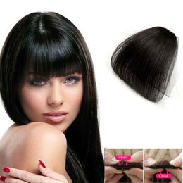 Clip Bangs Black Hair Australia - Thin Air hair bangs Without Temples Human Hair Bangs Jet Black For Women One Clip Hairpiece Fringe