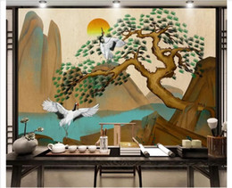 Chinese Hand Painting Landscaping Australia - 3D Custom wall papers home decor photo wallpaper New Chinese folk custom antique hand-painted pine crane crane landscape wall decorative