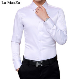 business shirt white NZ - La MaxZa Men's New Autumn Long-sleeved Shirt Mens Cotton Solid Color Single-breasted Business High-end Casual Shirt Mens Shirts