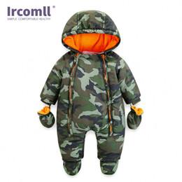 Infant Camo Australia - Ircomll 2018 Newborn Baby Rompers Winter Thick Warm Kid Baby Girls Boys Infant Clothing Camo Flower Hooded Jumpsuit Kids Outwear J190524