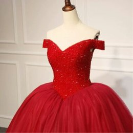 wedding gown dark red NZ - 2020 Real Luxury Red Wedding Dresses Ball Gowns Beaded Crystal Wedding Gowns Formal Bridal Dresses Custom Made Vestidos de novia