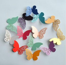 laser lights for kids UK - Wholesale Creative paper Butterfly Laser Cut Paper For Wedding Decoration 12pcs set 3D Butterfly Decoration Wall Stickers