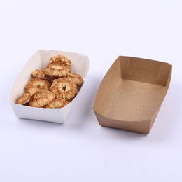 wholesale paper trays Australia - Disposable Take Out Box Waterproof And Anti-Oil Kraft Paper Box Tray for Fried Chicken French Fries Fried Food
