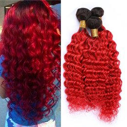 $enCountryForm.capitalKeyWord Australia - Ombre Red Virgin Brazilian Hair Bundles Deep Wave Curly Two Tone 1B Red Ombre Human Hair Wefts Extensions 300g Lot