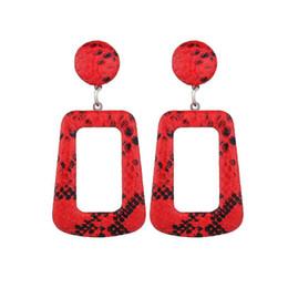 $enCountryForm.capitalKeyWord Australia - 2019 Oversize Snake Skin Geometric Drop Earrings for Women Large Big Leather Statement Dangle Earring Party Fashion Boho Jewelry