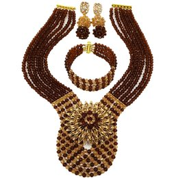 $enCountryForm.capitalKeyWord UK - Fashion Brown Champagne Gold AB Crystal Beads Necklace African Jewelry Set Nigerian Wedding Party Jewelry Sets 6WDK06
