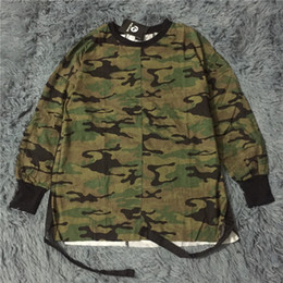 urban swag clothes Australia - 2019 new hip hop swag T shirt clothes street wear kpop urban men long sleeve longline OVERSIZE t shirt camo camouflage