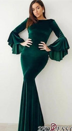 Wholesale black red flare plus size dresses resale online - 2019 New Fashion Velvet Dark Green Evening Dresses Formal Flare Long Sleeves Mermaid Arabic Celebrity Gowns Prom Dresses Cheap BC0524