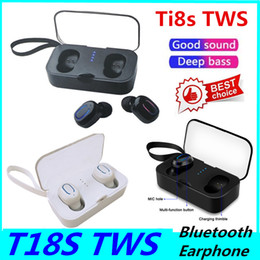 chinese earphones Canada - 50PCS Ti8s Bluetooth Earphones 5.0 Mini TWS Wireless Headphones Wireless Hifi Stereo T18s Headsets Earphones Sports Earbuds Phone Mic