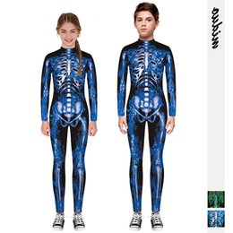 Skeleton pantS men online shopping - Digital Skeleton Printing Tight Fitting Zipper Conjoined Children s Wear Sports Pants Son