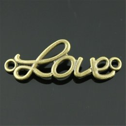 $enCountryForm.capitalKeyWord Australia - 100pcs Word Love Connector Charms Love Word Connector Charm Love Word Charm For Jewelry Making DIY Jewelry Accessories 37x14mm