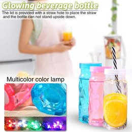 cute plastic straws Canada - 1PC Portable Environmentally Friendly Plastic Beverage Bottle Creative Luminous Juice Cup Cute Summer Water Bottle Cup Straw
