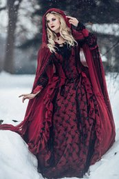 Discount medieval gothic wedding dresses - Red and Black Gothic Medieval Wedding Dresses Long Sleeves Renaissance Fantasy victorian vampires Country Wedding Dresse