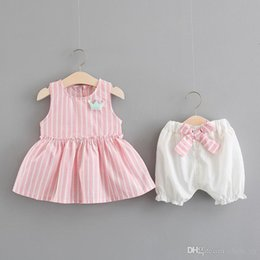 $enCountryForm.capitalKeyWord NZ - Infant Kids Baby Girl Clothes Soft Cotton Top Dress + Short Pants 2Pcs Baby Girls Outfits Set Summer Flower Girls Clothing