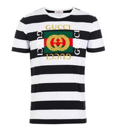 801091b3c8 T-shirt do desenhador do desgaste de homens 2019 T-shirt de roupa listrada  branca e preta fornecido por homens europeus e americanos