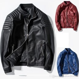 Motorcycle Jacket For Winter Australia - Pop Arrived Winter Autumn Fashion Mens Designer Brand Black Red Blue Leather Jacket Slim Fit Jackets For Mens Motorcycle Clothes