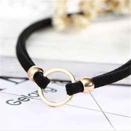 $enCountryForm.capitalKeyWord Australia - Two layers Black Faux Suede Velvet Golden Sliver Circle With Beads Choker Necklace Wrap Fashion Accessories wholesale
