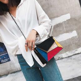 Color Leather Bags Australia - Fashion Patchwork Crossbody Bags For Women Scrub Pu Leather Woman Shoulder Messenger Bag Hit Color Chains Handbags Women Design