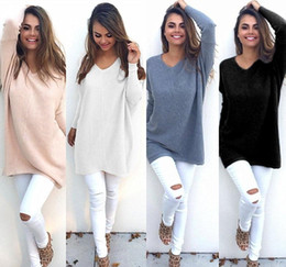 wool tee Australia - New Winter Long Sweater For Women Long Sleeve V-Neck Loose Casual Knitwear Fashion Plain Knit Tee Shirt DYG0906