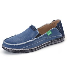 Blue Green Canvas Shoes Australia - XINGYIDA Men Classic Canvas Shoes 2017 Lazy Shoes Blue Grey Green Canvas Moccasin Men Slip On Loafers Washed Denim Casual Flats
