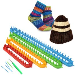 tools crocheted NZ - IY Apparel & Fabric Tools & Accessory 4pcs Set Long Knitting Knit Wool Loom,Sewing Needle sweater Plastic Castle weaver crochet...