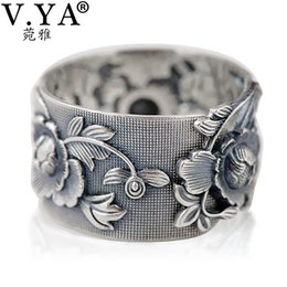999 Ring Australia - V.ya Vintage 999 Pure Silver Emboss Flower Rings For Women Lover Thai Silver Jewelry Accessories Birthday Mother Days Gift T190624