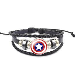 Dark Pink Bracelet NZ - Hot Superhero Captain America Superman Vintage Hand-knitted Beaded Leather Bracelet Jewelry