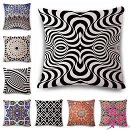 Design baby pillow online shopping - Geometry Pattern Design Cotton Flax Pillow Back Cushion