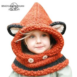 $enCountryForm.capitalKeyWord Australia - BINGYUANHAOXUAN2017 Winter Outdoor Hats Knitting Wool Cat Soft warm Hats for Baby Girls Shawl Beanie Caps Set and Scarf set