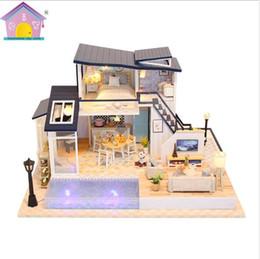 Discount boneca toys - Large Size villa Miniature Doll House CASA DE BONECA Diy Puzzle Toy Model Wooden Furniture Toys kids Gifts