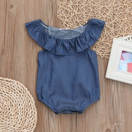 $enCountryForm.capitalKeyWord NZ - Summer Baby Romper Newborn Baby costume Toddler Infant Girls Ruched Sleeveless Denim Jumpsuit Romper Clothes baby clothes Ja04